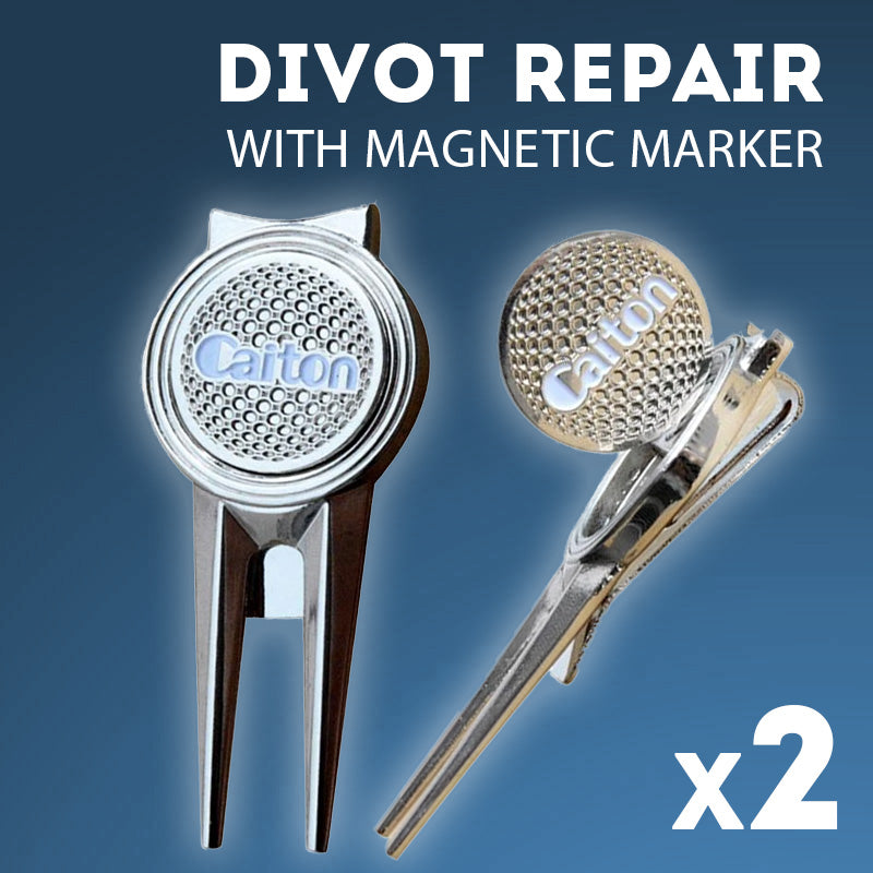 2 x Divot Repair Tools with Magnetic Markers
