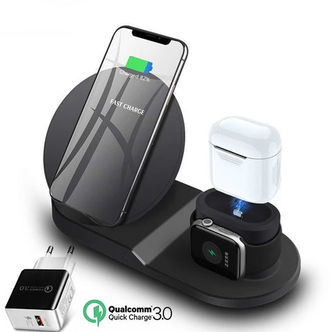 Image of 3 in 1 Wireless Charger Stand Station, (10W/7.5W) Fast Wireless Charging Dock for iPhone/ Apple Watch / Apple Airpods