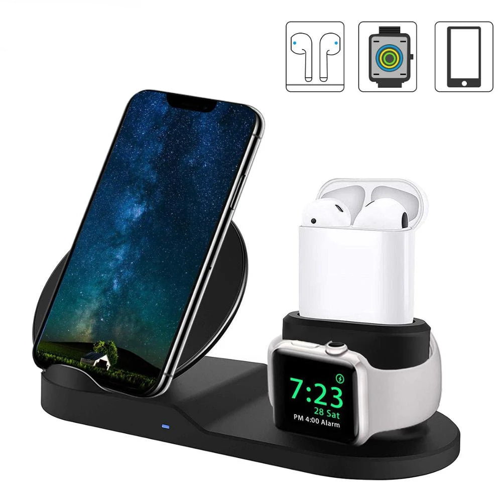 3 in 1 Wireless Charger Stand Station, (10W/7.5W) Fast Wireless Charging Dock for iPhone/ Apple Watch / Apple Airpods