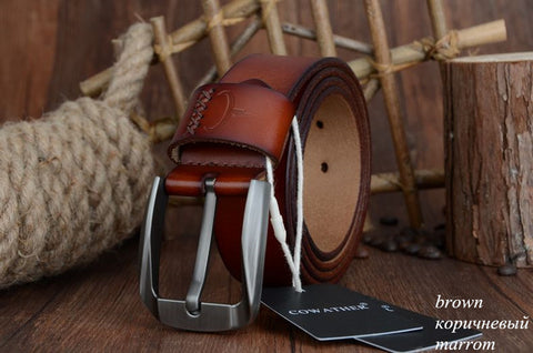 Image of Men's Genuine Cowhide Leather Belt