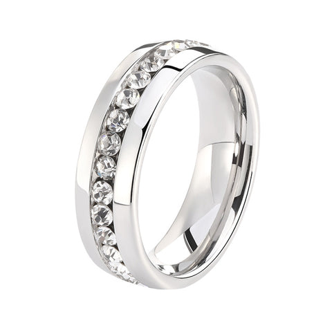 Women's Titanium Steel Sliver Ring with Rhinestone