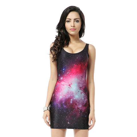 Red Galaxy Print Short  Sleeveless Mini Dress