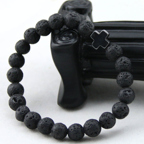 Image of Lava Stone Cross Bead Bracelets