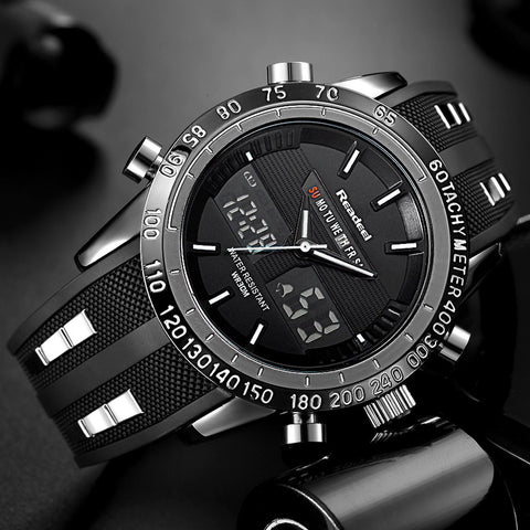 Image of Shock Resistant Black Multi-Function Sport Watch