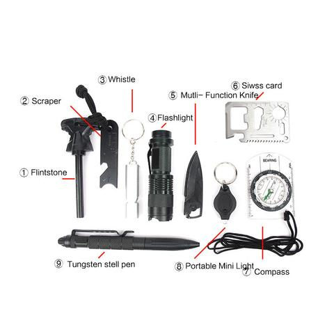11 in 1 Outdoor Tactical Survival Kit