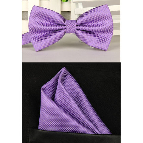 Image of Silk Bow Tie & Handkerchief Set