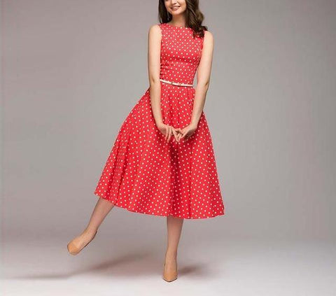 Image of Vintage Summer Mid-Calf Sleeveless Dress
