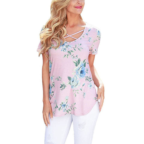 Image of Women's Short Sleeve V-Neck Print Shirt