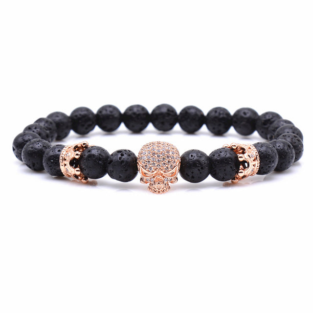Skeleton Skull Lava Rock Beaded Bracelet