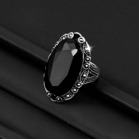 Goddess Oval Obsidian Ring