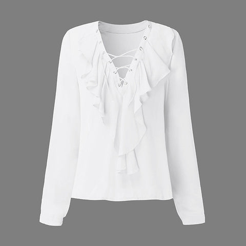Image of Women's V-Neck Chiffon Blouse