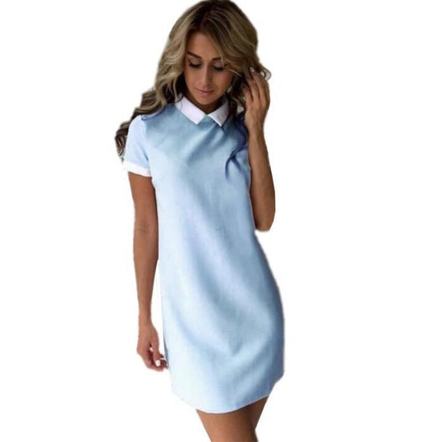 Turn Down Collar Mini Dress