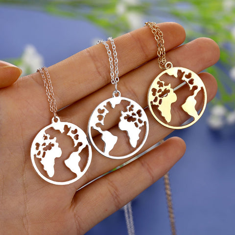Bohemian World Map Pendant Necklace for Women