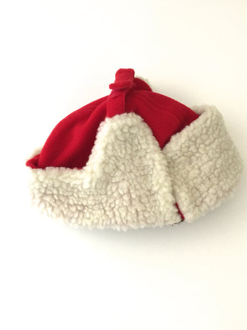 L-Bow Boy's Aviator Sherpa Lined Red Fleece Hat