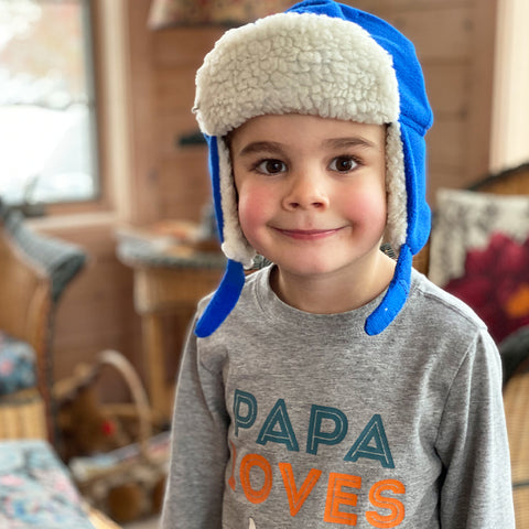 L-Bow Boy's Aviator Sherpa Lined Blue Fleece Hat