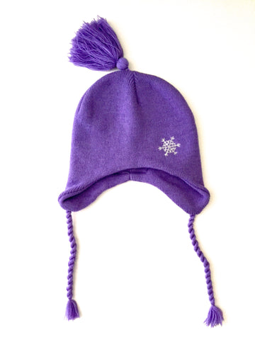 Girl's Knit Purple Snowflake Hat