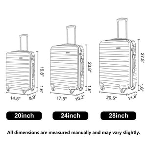 Lightweight Hardside 3-Piece ABS Luggage Set in Black with Spinner Wheel