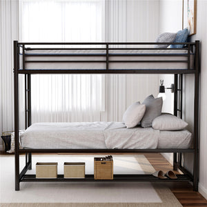 Twin Over Twin Bunk Bed with Storage Black