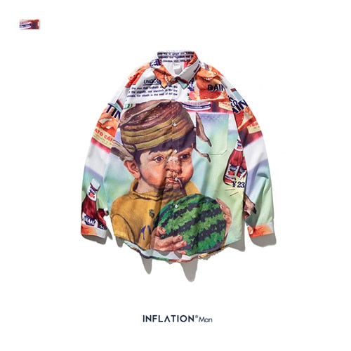 INFLATION Funny Cartoon Printed Shirt