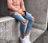 Men Stylish Zipped Ripped Jeans