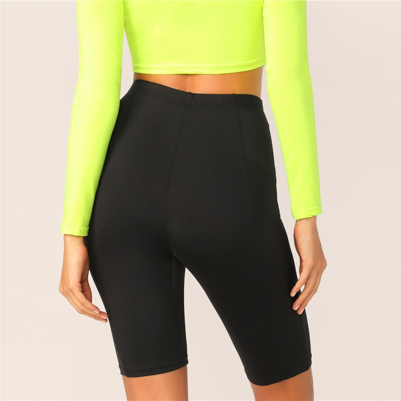 High Waist Cycling Leggings - Black