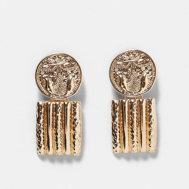 Gold Aztec Women's Earrings