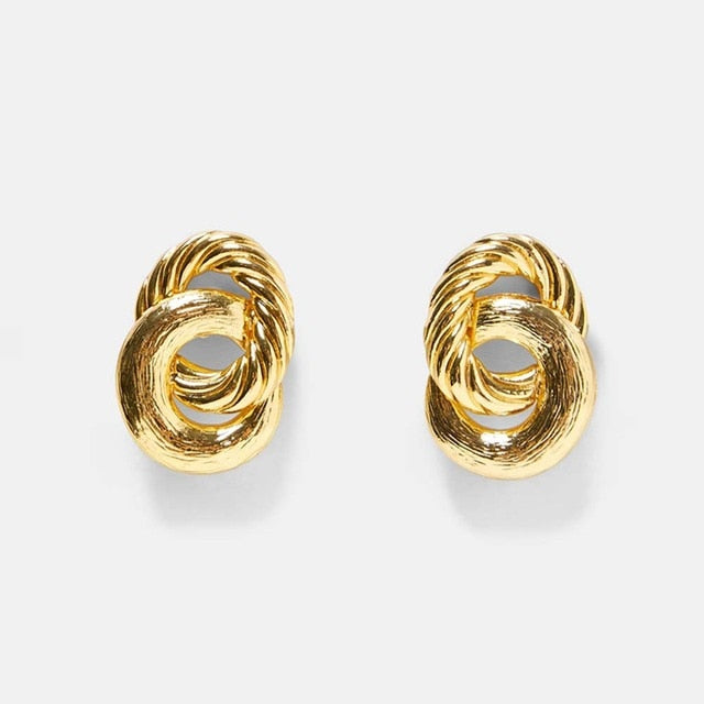 Double Gold Ring Earring