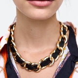Gold Link Black Intertwined Necklace