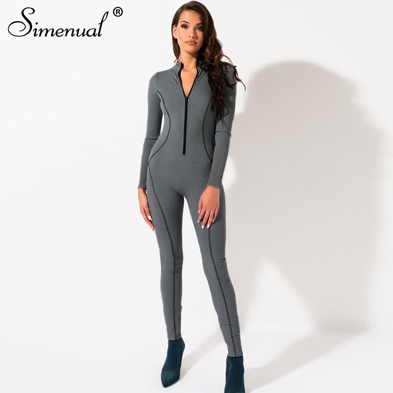 Sporty Active Wear Romper - Grey