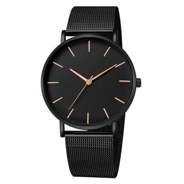 Mesh Band Men's WristWatch - Black