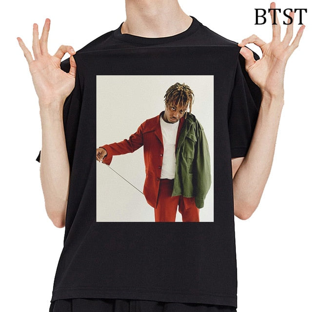 Harajuku T-shirt O-Neck Anime Shirt Rip Juice Wrld Print Tee Shirt Homme Hip Hop Tops Black Tees Summer Comfortable T Shirts