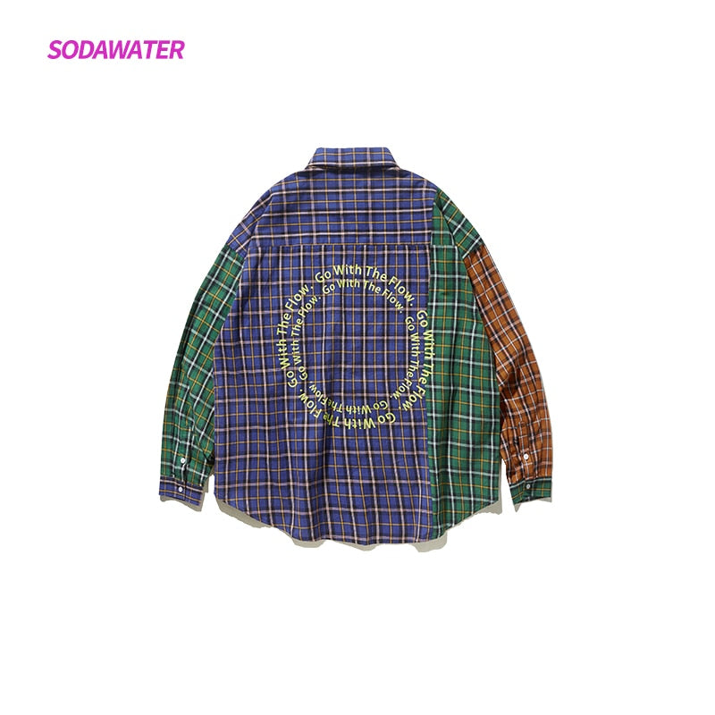 SODAWATER Women Patchwork Long Sleeve Button Up