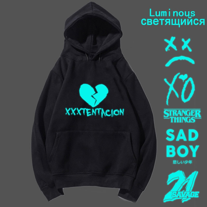 Luminous xxxtentacion lil peep the weekend lil uzi vert Stranger things hoodies men pullover sweatshirt male rapper sad boy