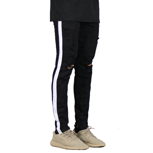 Mens Side Stripe Destroyed Jeans - Black