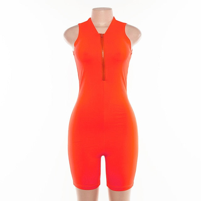 Sporty Orange Sleeveless Playsuit