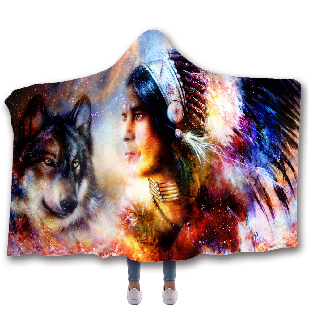 Wolf 3D All Over Printed Animal Hooded Blanket