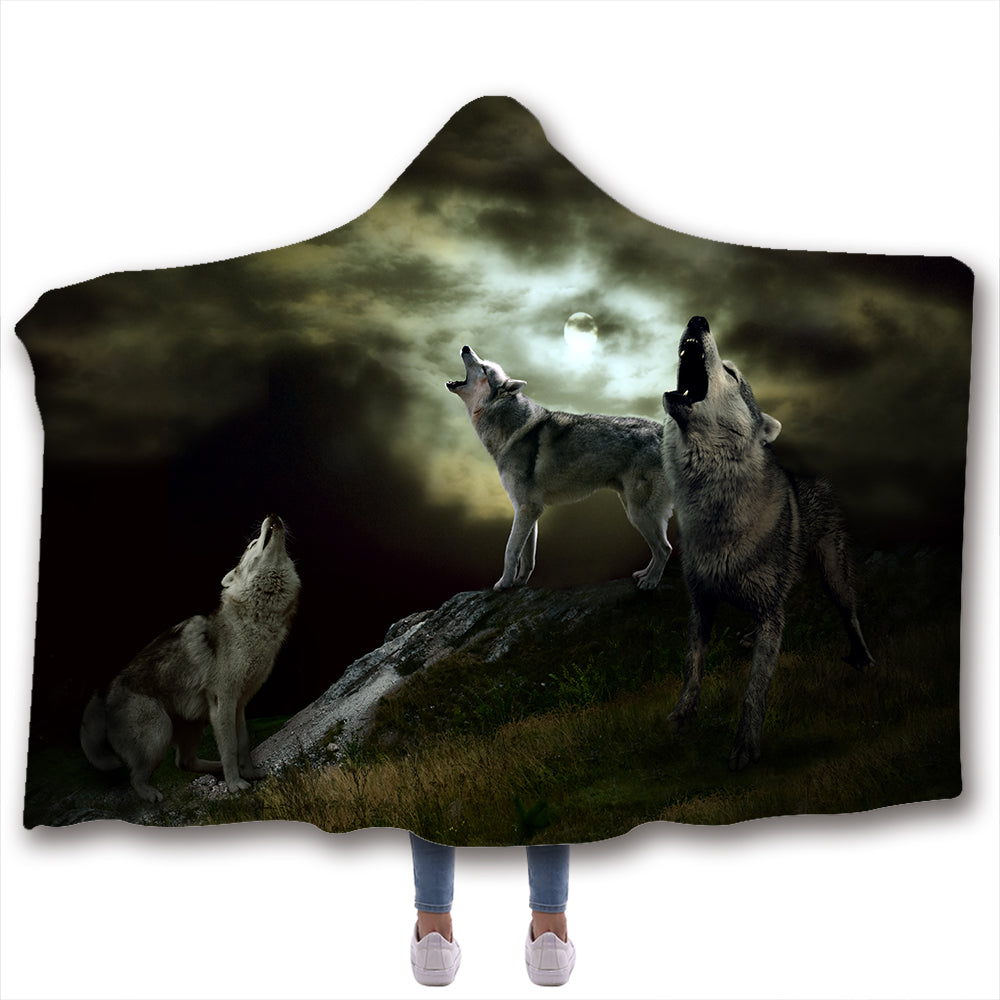 Wolf 3D All Over Printed Animal Hooded Blanket - PLstar VK