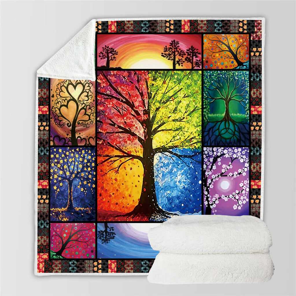 Plant 3D All Over Printed Square Blanket
