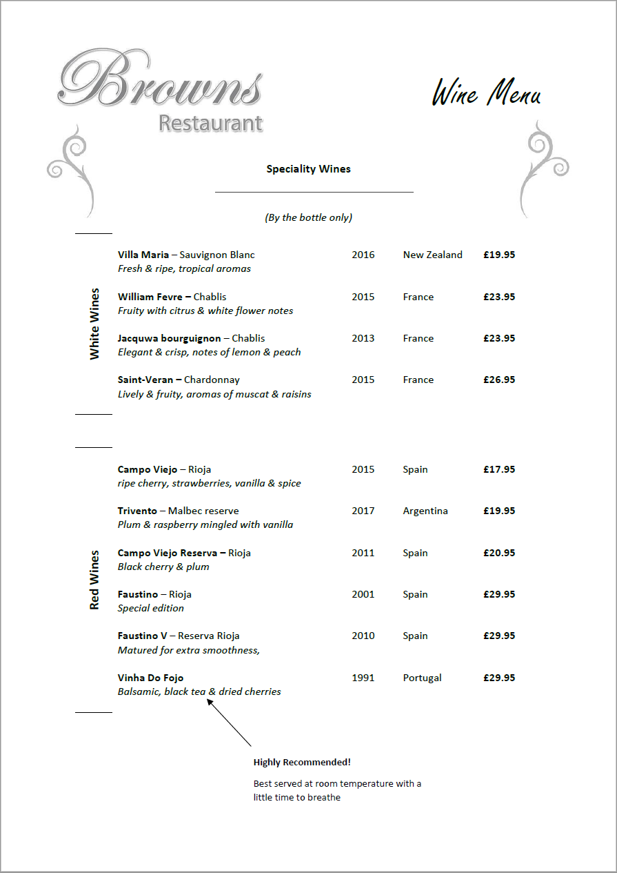 Speciality Wine Menu - Browns Restaurant Derby