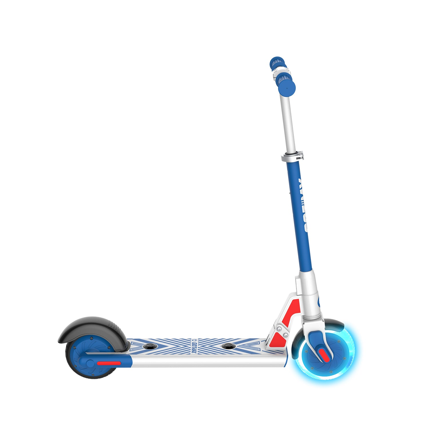blue gks lumios electric scooter for kids side image