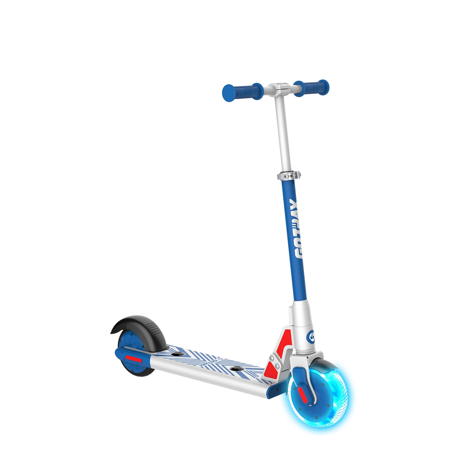blue gks lumios electric scooter for kids angle image