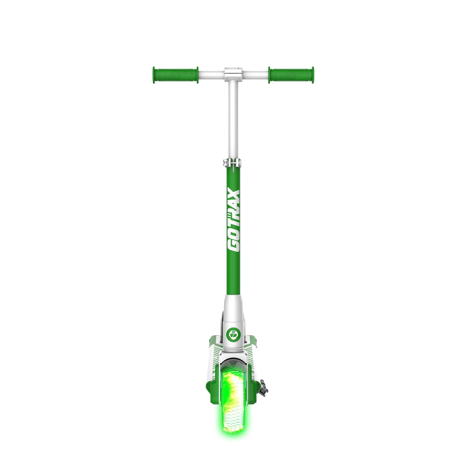 green gks lumios electric scooter for kids front image