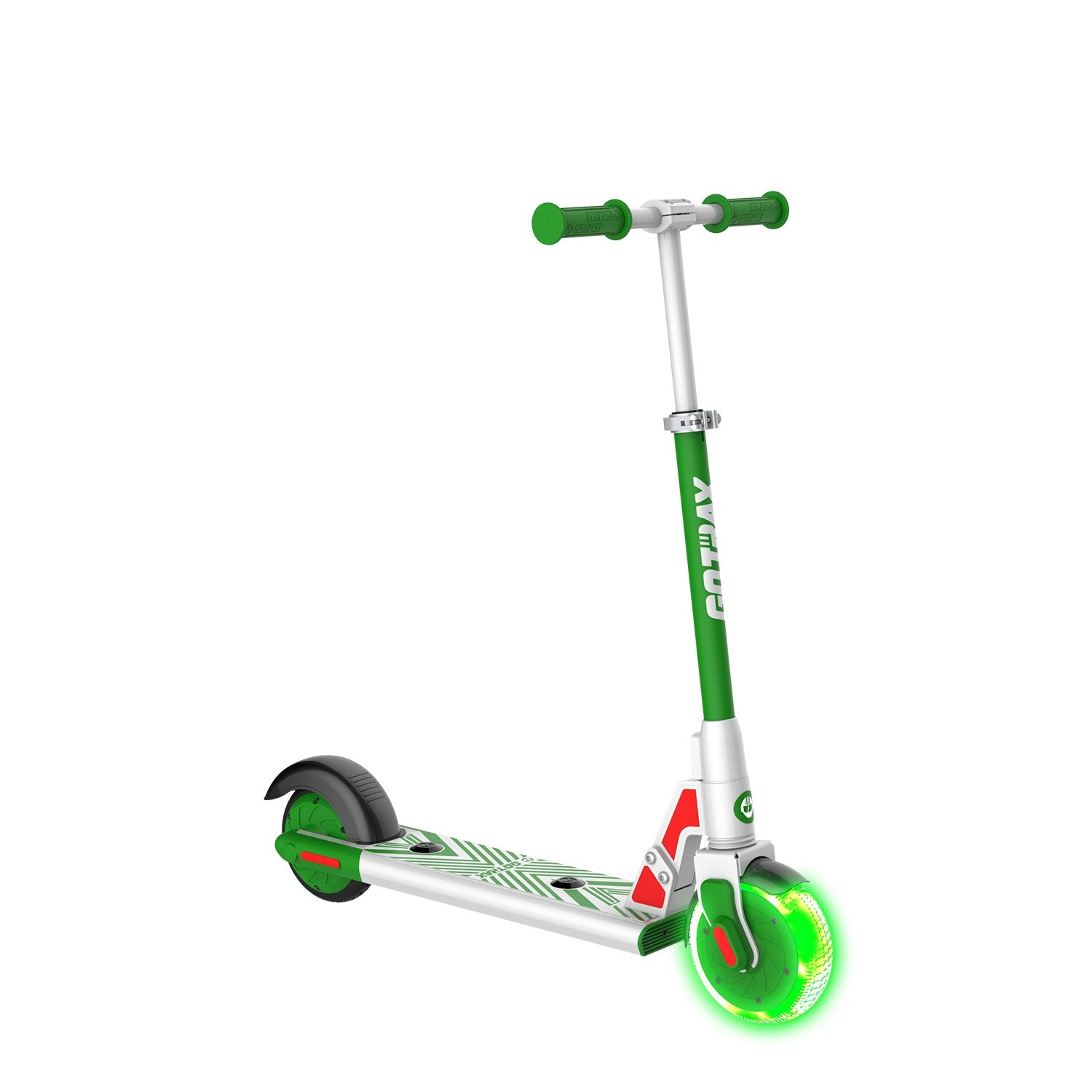 green gks lumios electric scooter for kids angle image