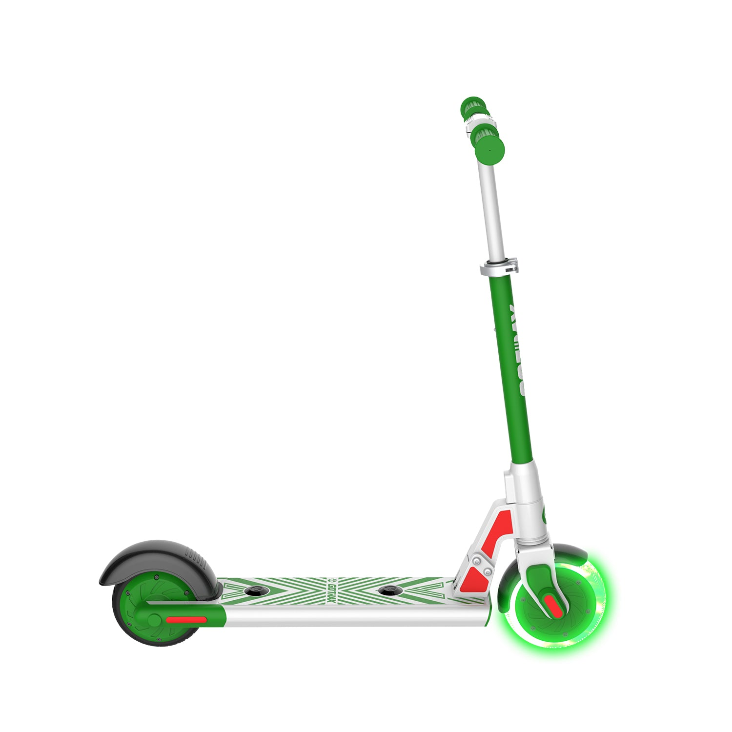 green gks lumios electric scooter for kids side image