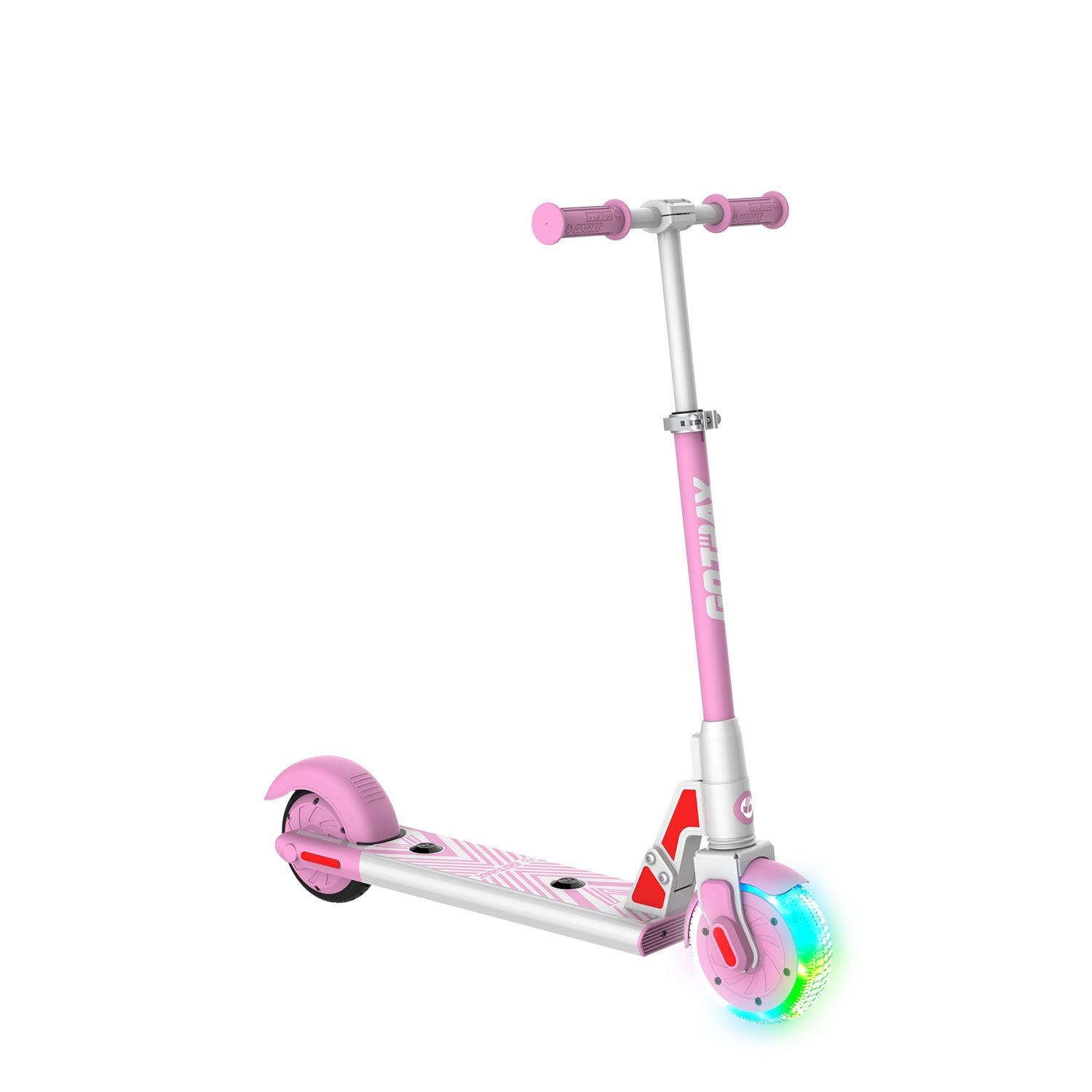 pink gks lumios electric scooter for kids angle image