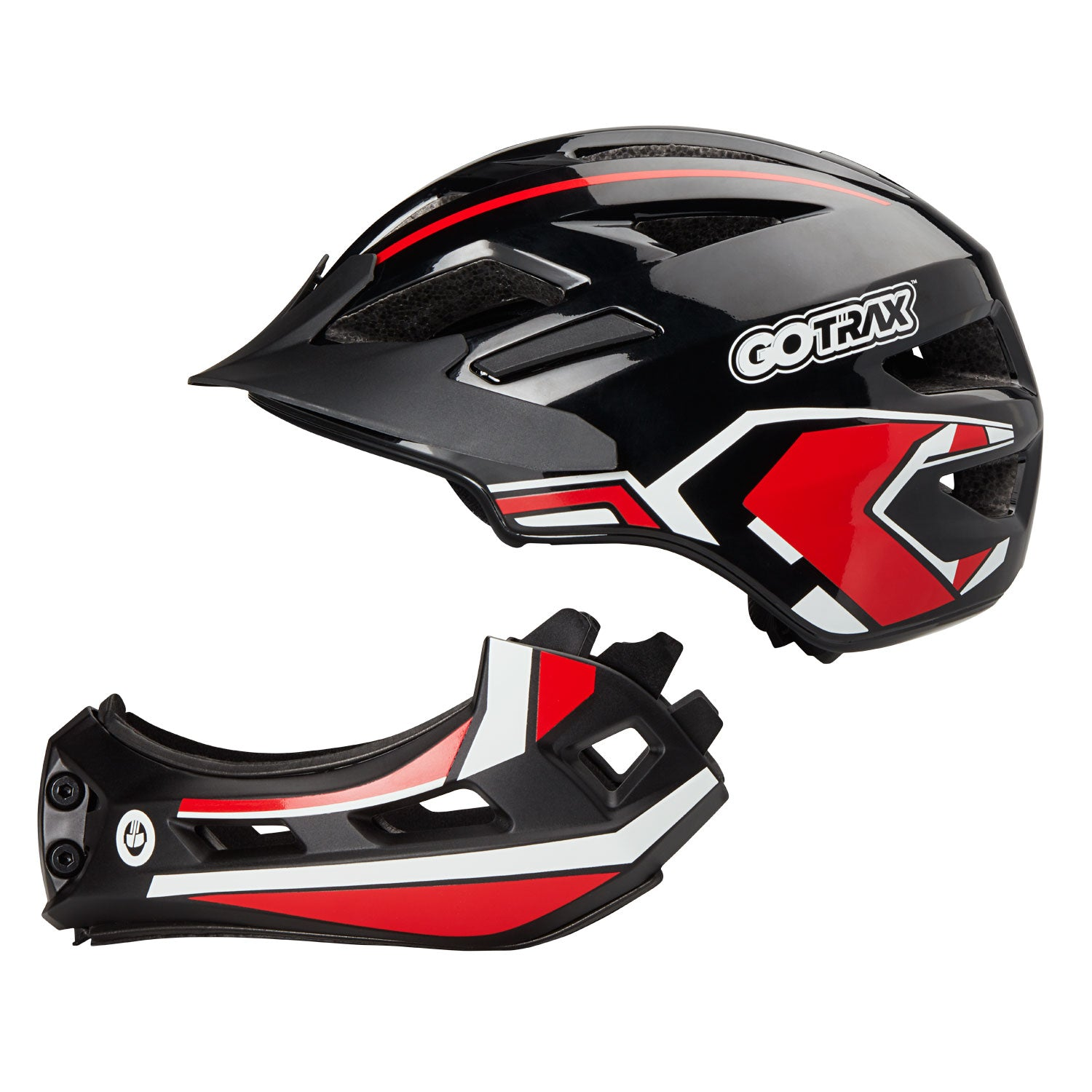 Red GOTRAX 2 in 1 Helmet Separated Image