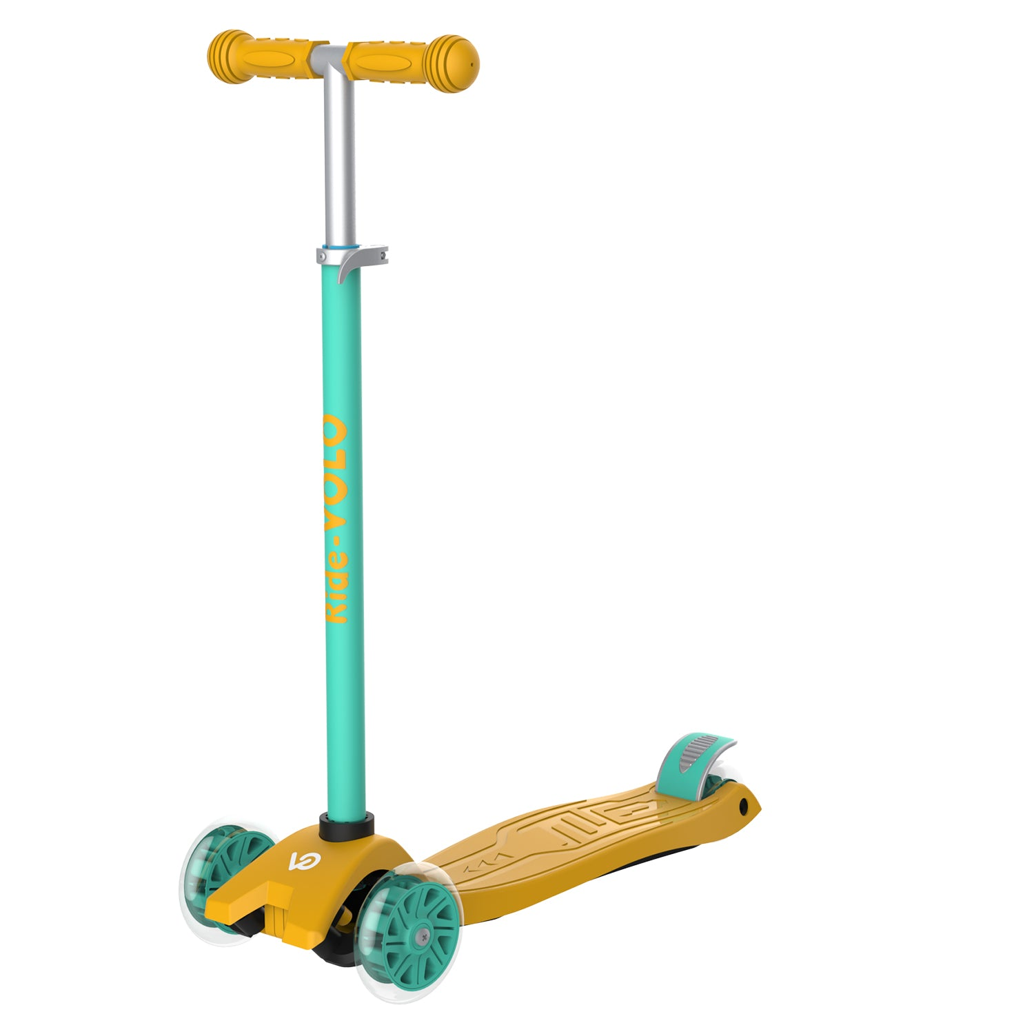 Yellow k01 3 wheeled kids scooter