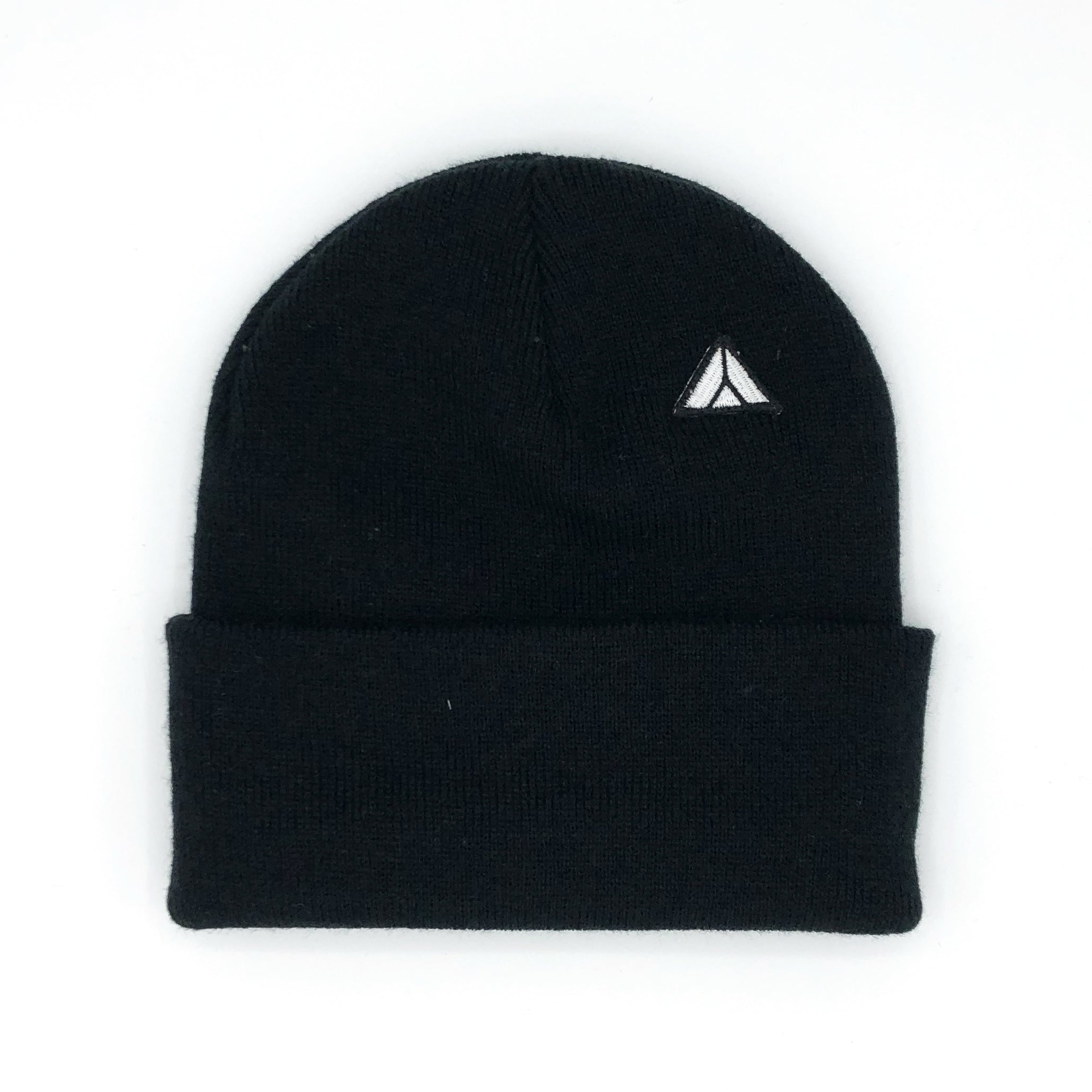 Triangle Cuffed Beanie Black