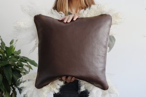 Leather Back White Sheepscape Pillow