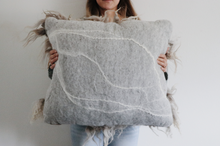 Load image into Gallery viewer, Oversized Gray Sheepscape pillow